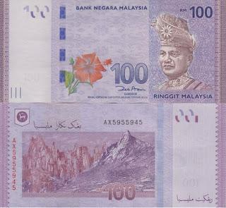 100 Ringgit note - currency of Kuala Lumpur